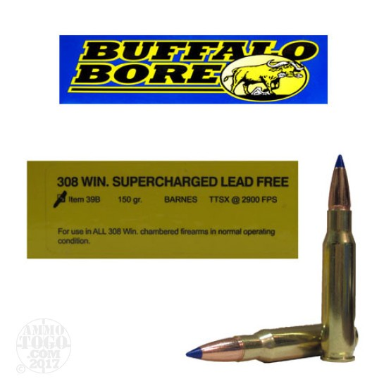 20rds - 308 Win. Supercharged Buffalo Bore 150gr. Barnes TTSX Lead Free Ammo