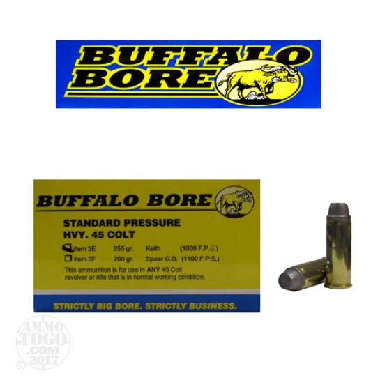 20rds - 45 Long Colt Heavy Buffalo Bore 255gr. Keith Ammo