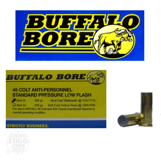 20rds - 45 Colt Buffalo Bore 225gr. HCWC Anti-Personnel Ammo