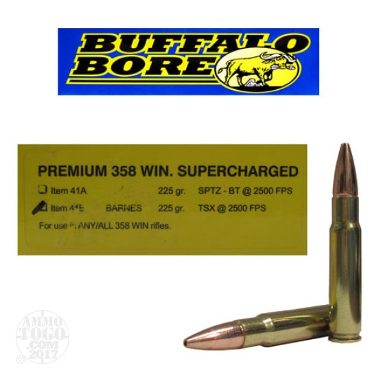 200rds - .358 Win. Premium Supercharged Buffalo Bore 225gr. Barnes TSX Ammo