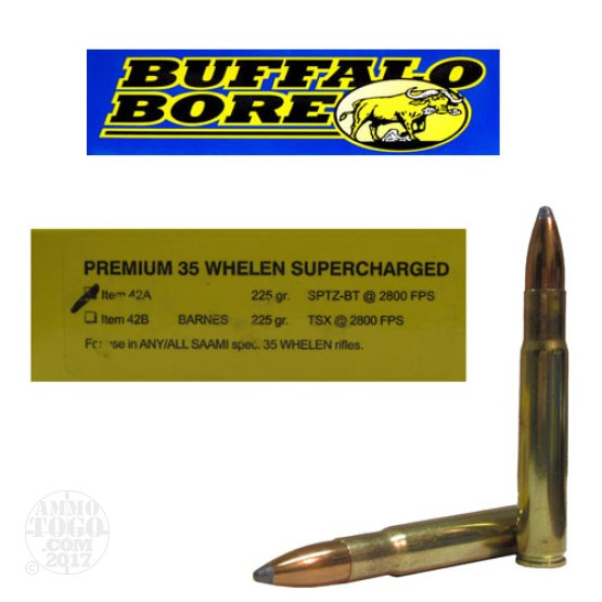 20rds - 35 Whelen Supercharged Buffalo Bore 225gr. Soft Point BT Ammo