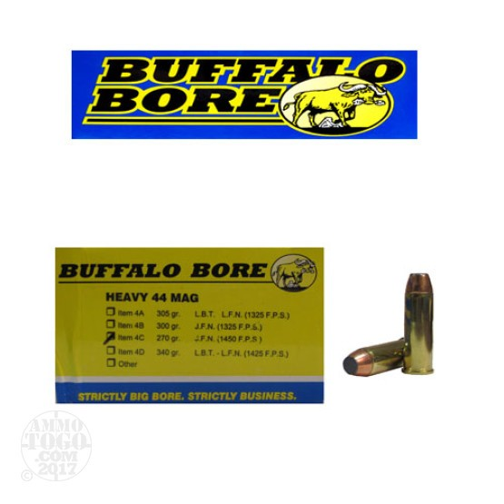 20rds - 44 Mag Heavy Buffalo Bore 270gr. Jacketed Flat Nose Ammo