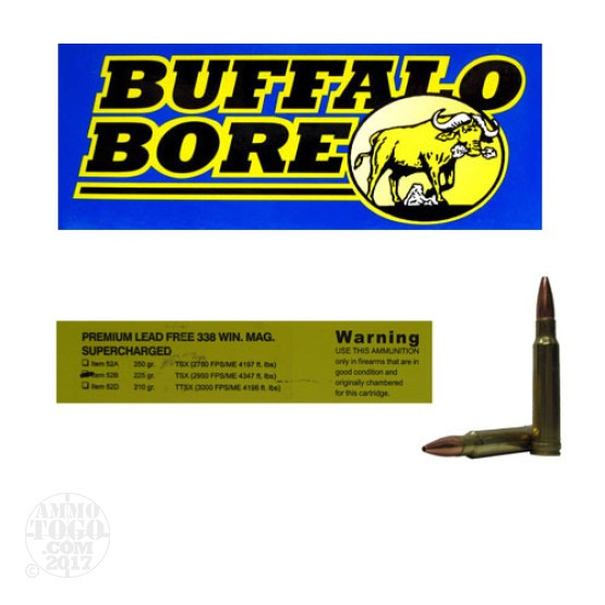 20rds - 338 Win. Mag. Supercharged Buffalo Bore 225gr. Barnes TSX HP Ammo