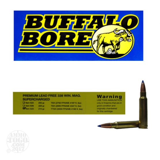20rds - 338 Win. Mag. Supercharged Buffalo Bore 210gr. Barnes TTSX Ammo