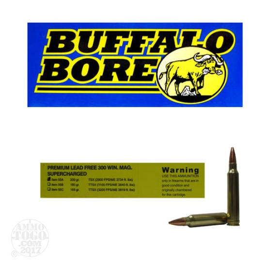 20rds - 300 Win. Mag. Supercharged Buffalo Bore 200gr. Barnes TSX HP Ammo