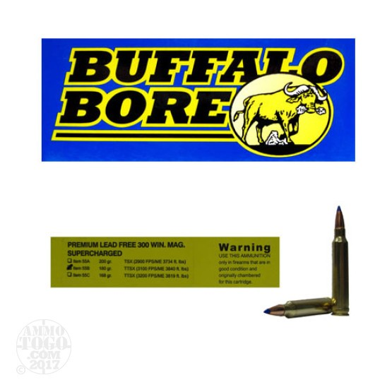 20rds - 300 Win. Mag. Supercharged Buffalo Bore 180gr. Barnes TTSX Ammo