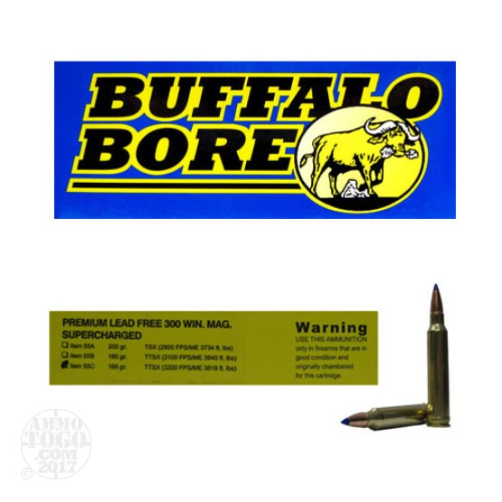 20rds - 300 Win. Mag. Supercharged Buffalo Bore 168gr. Barnes TTSX Ammo