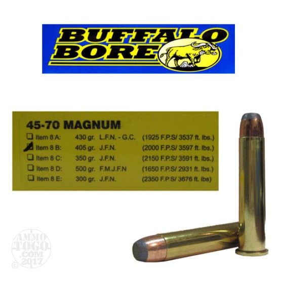 20rds - 45-70 Buffalo Bore Magnum 405gr. Jacketed Flat Nose Ammo