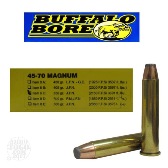 20rds - 45-70 Buffalo Bore Magnum 350gr. Jacketed Flat Nose Ammo
