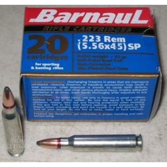 1000rds - .223 Barnaul 62gr. Soft Point Ammo