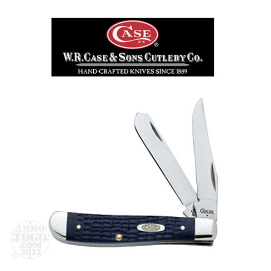 "1 - Case Mini Trapper 2 Blade 3 1/2"" Navy Blue Folding Pocket Knife"