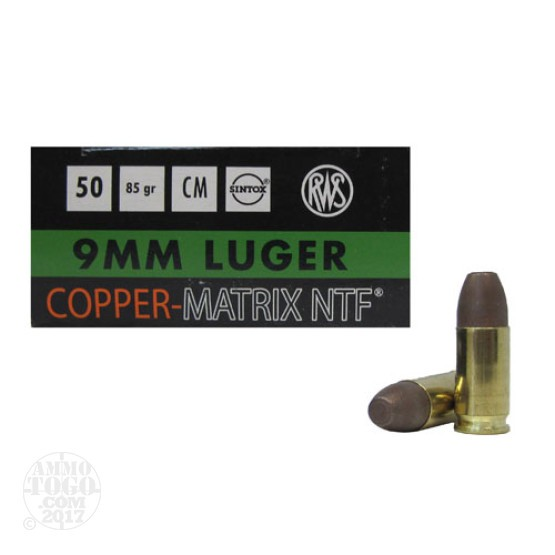 500rds - 9mm Luger RWS 85gr. Non-Toxic Lead Free Frangible Ammo