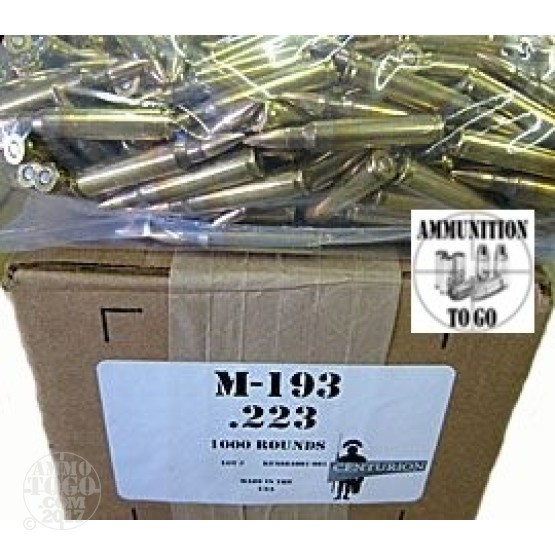 1000rds - .223 Centurion Military Contract 55gr. FMJ Ammo