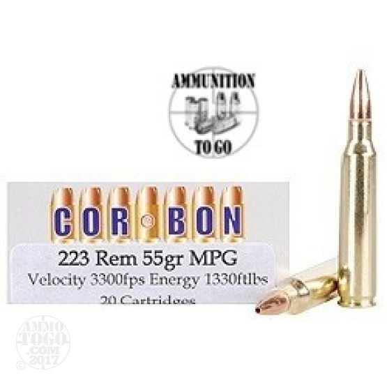20rds - 223 Corbon 55gr. Multi-Purpose Green Ammo