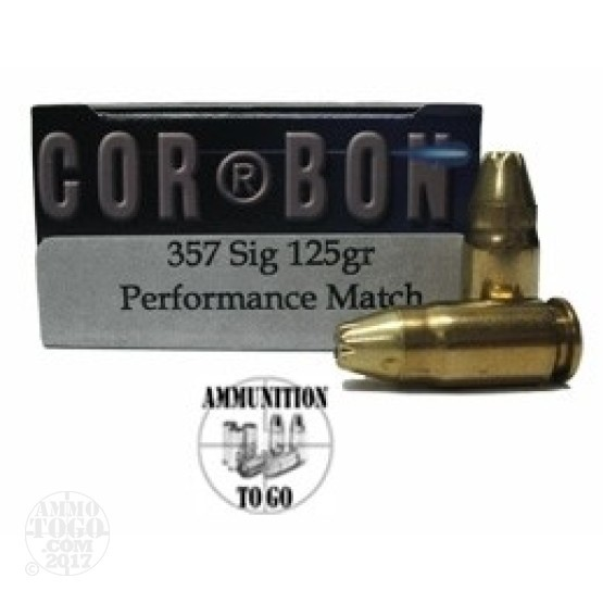 20rds - 357 Sig Corbon Performance Match 125gr. HP Ammo