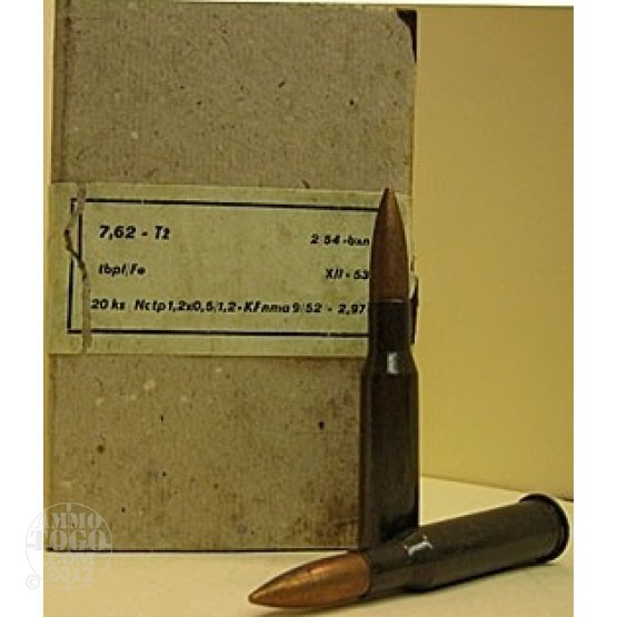 100rds - 7.62x54R Czech Military Light Ball Ammo (No Silver Tip)