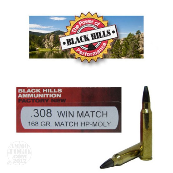 100rds - 308 Black Hills 168gr. Match Boat-Tail Hollow Point Moly Coated Ammo