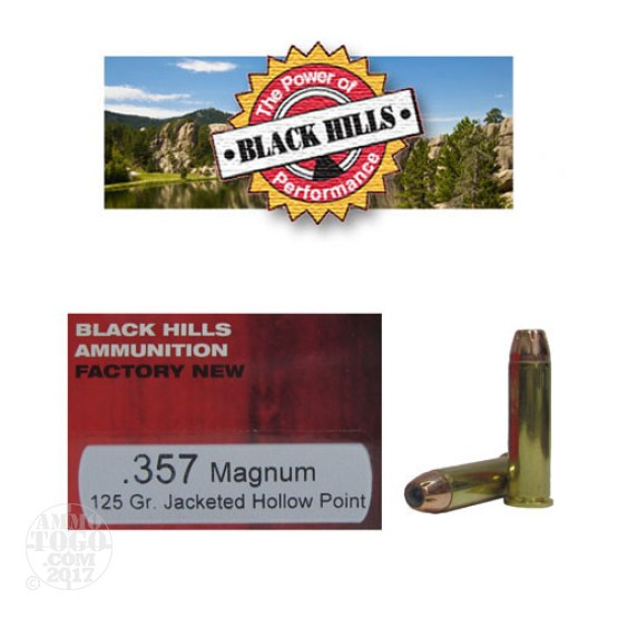 500rds - 357 Mag Black Hills 125gr. Jacketed Hollow Point Ammo