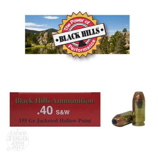 500rds - 40 S&W Black Hills 155gr. Jacketed Hollow Point Ammo