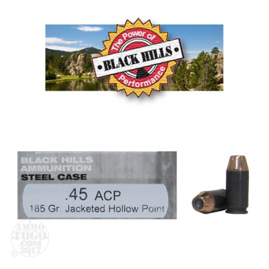 50rds - 45 ACP Black Hills Steel Case 185gr. Jacketed Hollow Point Ammo