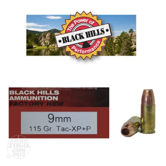 50rds - 9mm Black Hills 115gr. Barnes XP +P Hollow Point Ammo