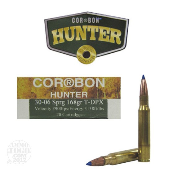 20rds - 30-06 Corbon Tip DPX 168gr. Polymer Tip DPX Ammo
