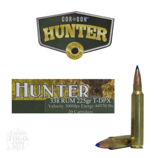 20rds - 338 RUM Corbon 225gr T-DPX Polymer Tip Ammo