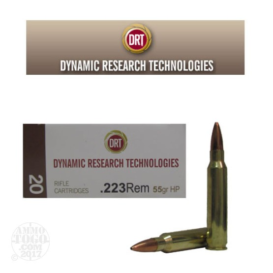 20rds - 223 DRT 55gr. HP Lead Free Fragmenting Ammo
