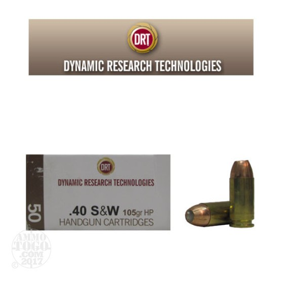 50rds - 40 S&W DRT 105gr. HP Lead Free Fragmenting Ammo