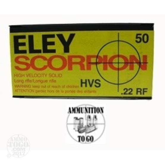 500rds - 22LR Eley 40gr Scorpion Hi-Velocity Solid Point Ammo