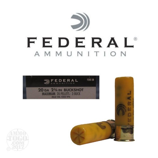 "5rds - 20 Gauge Federal Power-Shok 2 3/4"" #3 Buckshot Ammo"