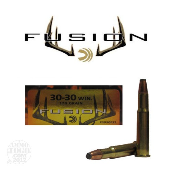 200rds - 30-30 Federal Fusion 170gr. Flat Nose SP Ammo