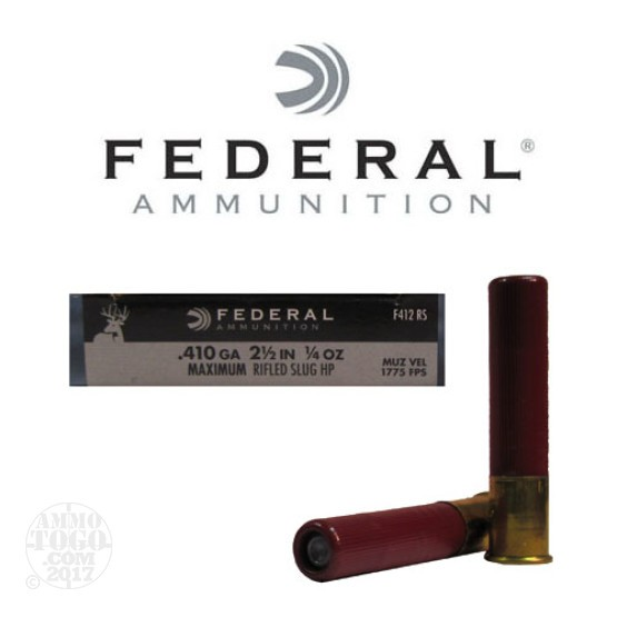"100rds - .410 Gauge Federal Power Shok 2 1/2"" 1/4 oz. Rifle Slug Ammo"