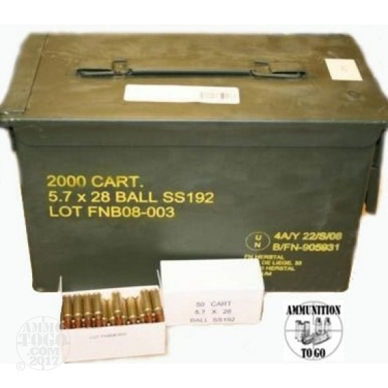 50rds - 5.7x28mm FN  SS192 Hollow Point Ammo