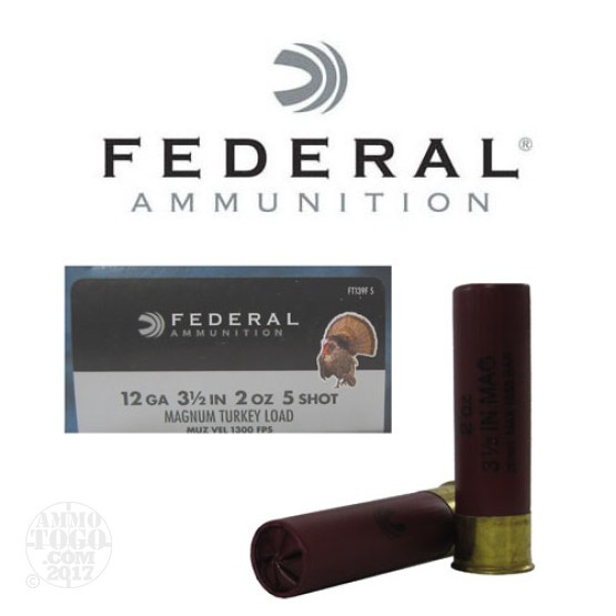 "10rds - 12 Gauge Federal Strut-Shok 3 1/2"" 2oz. #5 Turkey Ammo"