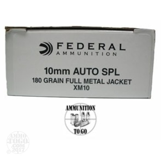 50rds - 10mm Federal 180gr XM10 FMJ Ammo