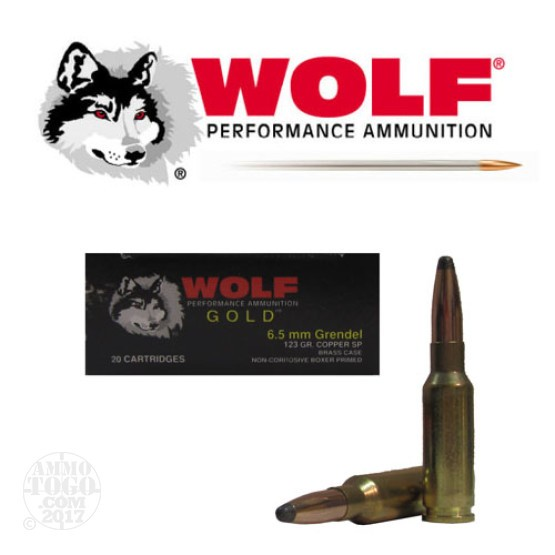 20rds - 6.5 Grendel Wolf Gold 123gr Copper Soft Point Ammo
