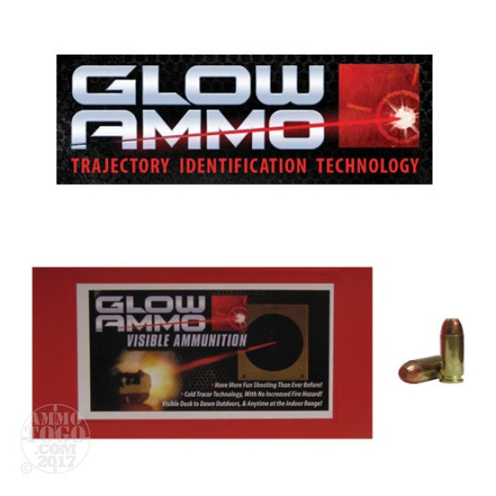 50rds - 40 S&W Glow Ammo 180gr Flat Point FMJ Visible Ammo