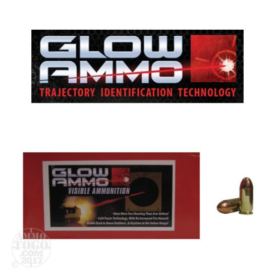 50rds - 45 ACP Glow Ammo 230gr Round Nose FMJ Visible Ammo