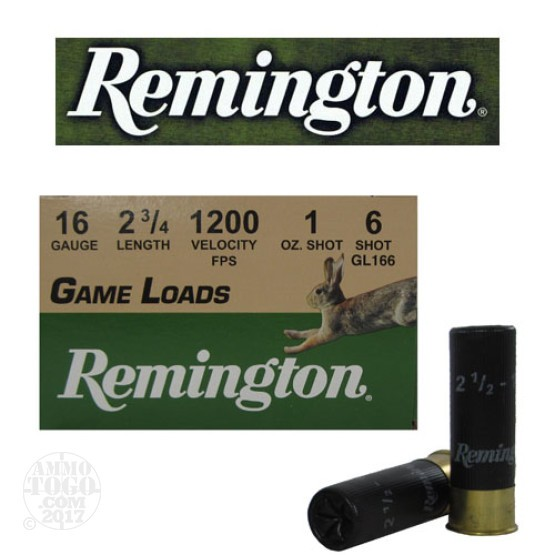 "250rds - 16 Gauge Remington Game Load 2 3/4"" 1oz. #6"