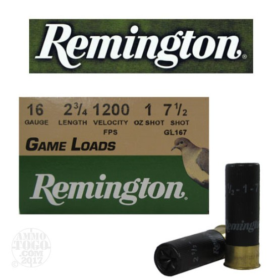 "250rds - 16 Gauge Remington Game Load 2 3/4"" 1oz. #7 1/2"