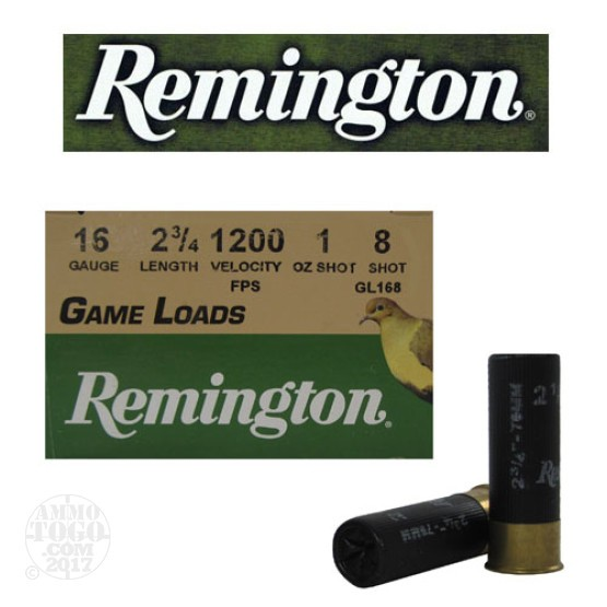 "250rds - 16 Gauge Remington Game Load 2 3/4"" 1oz. #8"