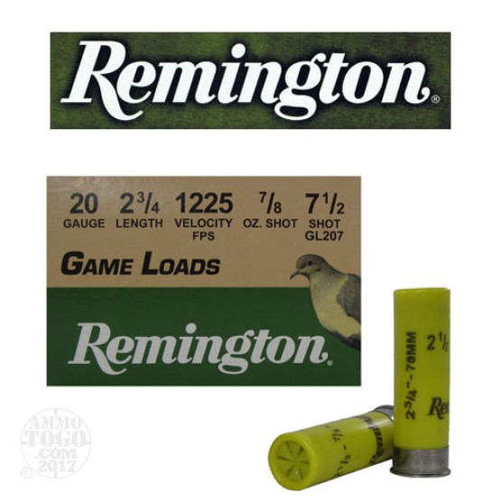 "250rds - 20 Gauge Remington Game Load 2 3/4""  7/8oz. #7 1/2 Shot"
