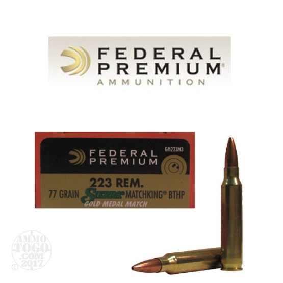 200rds - .223 Federal Gold Medal Match 77gr. BTHP Ammo