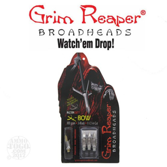 "1 - 3 Pack Grim Reaper 100gr. Razorcut SS 1 1/2"" Cutting Dia. Crossbow Mechanical Broadheads W/ Practice Head"