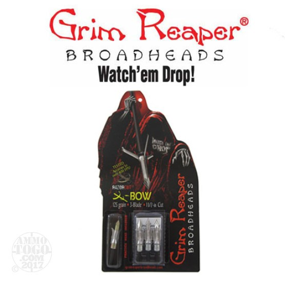 "1 - 3 Pack Grim Reaper 125gr. Razorcut SS 1 1/2"" Cutting Dia. Crossbow Mechanical Broadheads W/ Practice Head"
