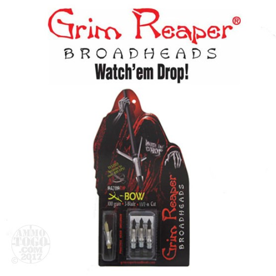 "1 - 3 Pack Grim Reaper 100gr. Razortip 1 1/2"" Cutting Dia. Crossbow Mechanical Broadheads W/ Practice Head"