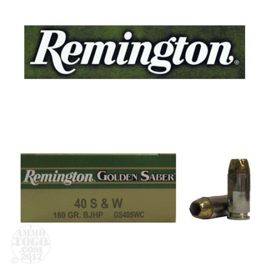 50rds - 40 S&W Remington Golden Saber 180gr. JHP Ammo