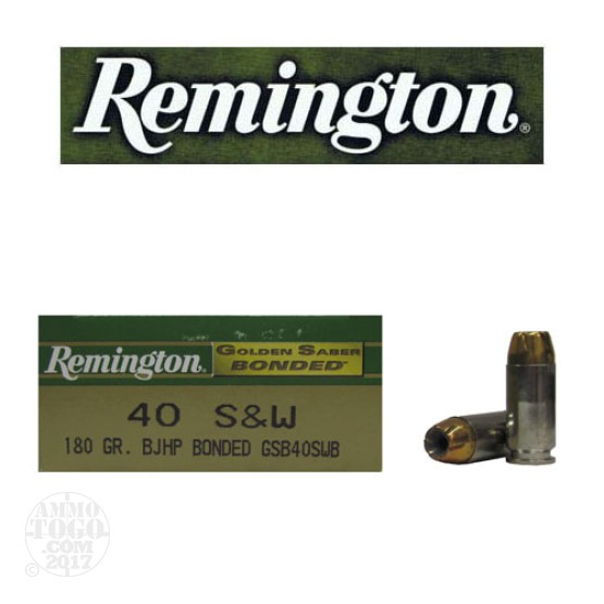 50rds - 40 S&W Remington Golden Saber Bonded 180gr. JHP Ammo