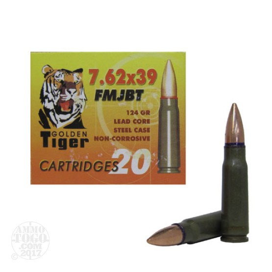 1000rds - 7.62x39 Golden Tiger 124gr FMJ Ammo